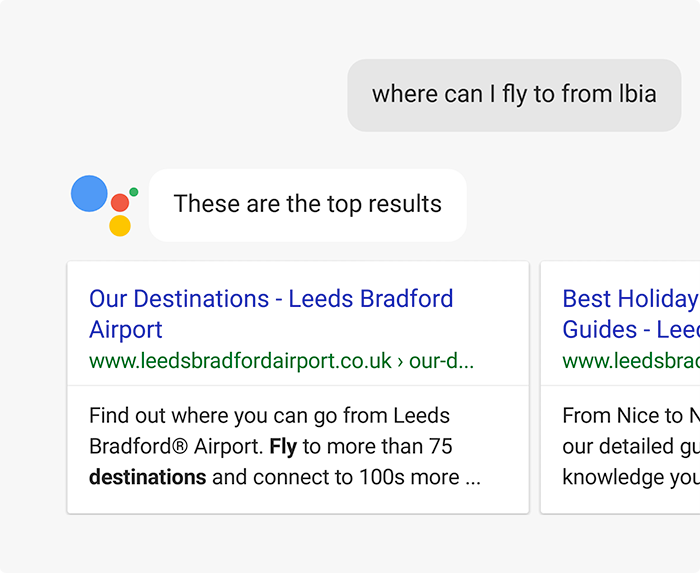 Google Assistant Conversational User Interface (CUI) Search Result Cards